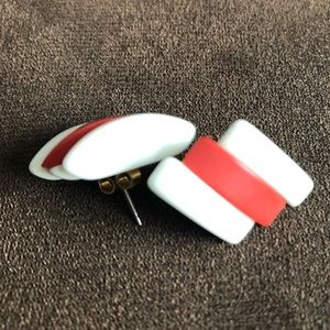 💋💃🏻👠Vintage 80's Red & White Striped Earrings